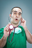 Mad Doctor with a Stethoscope — Stok fotoğraf
