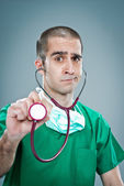 Mad Doctor with a Stethoscope — Stock fotografie