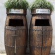 Wooden Rubbish bins in china — Stock Photo