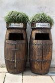 Wooden Rubbish bins in china — Stock Photo