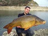 Fishing scene. common carp — 图库照片