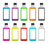 Plastic bottles with colored liquid inside — Stock Photo