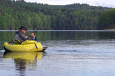 Fishing with a float tube — Stock Photo