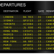 Stock Photo: Flights departures board