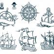 Sailing ships emblems Iconset — Stock Vector