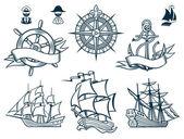 Amblem iconset yelkenli gemiler — Stok Vektör