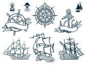 Sailing ships emblems Iconset — Vector de stock