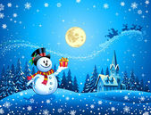 Snowman with the gift — Stock Vector