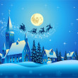 Church and Houses in the Christmas Night — Stock Vector