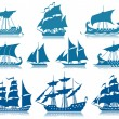 Sailing Ships Icon Set - Stock Vector