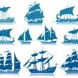 Sailing Ships Icon Set — Stock Vector