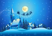 Kerk en huizen in de kerstnacht — Stockvector