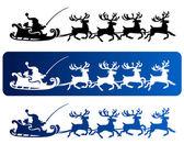Santa Sleigh Christmas Silhouettes — Stock Vector