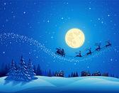 Santa Into the Winter Christmas Night — Stock Vector