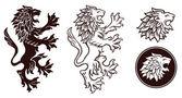 Heraldic Lion Silhouettes 2 — Stock Vector