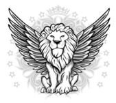 Winged Lion Front View Drawing — Stock Vector