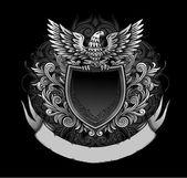 Eagle on Dark Shield Insignia — Stock Vector