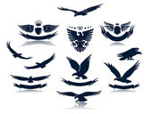 A set of eagles silhouettes — Stock Vector