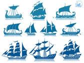 парусные корабли икона set — Cтоковый вектор