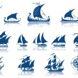 Ships of the past iconset — Stock Vector