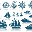 Compass and Sailing ships iconset — Stock Vector #14130364