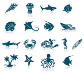 Ocean Life Icon Set — Stock Vector