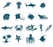 Ocean Life Icon Set — Stock Vector