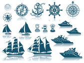 Compass and Sailing ships iconset — Vector de stock