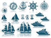 Kompas en zeilen schepen iconset — Stockvector