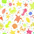 Stock Vector: Seamless SeaLife Pattern