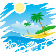 Tropical Coastline Emblem — Stock Vector