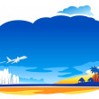 Air Jet flying over the beach illustration — Vettoriali Stock
