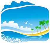 Tropical Coastline View — Stock Vector