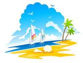 Tropical Coastline — Stock Vector