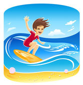 Girl Surfer Vector — Stock Vector