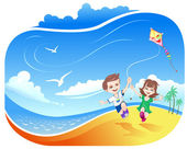 Boy and girl with kite on beach — Stock Vector