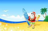 Christmas Santa on the Beach — Stock Vector
