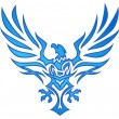 Blue Flame Eagle Tattoo — Stock Vector