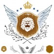 Lion Head Winged Insignia - Stok Vektör