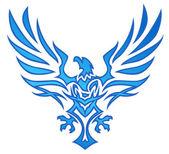 Blue Flame Eagle Tattoo — Stock Vector