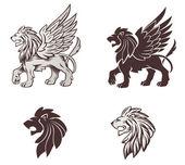 Winged Lion Illustration — Stock Vector