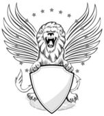 Roaring Winged Lion with Shield Insignia — Stock Vector