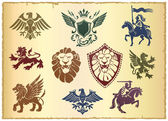 Heraldic set with lions and eagles — Stock Vector