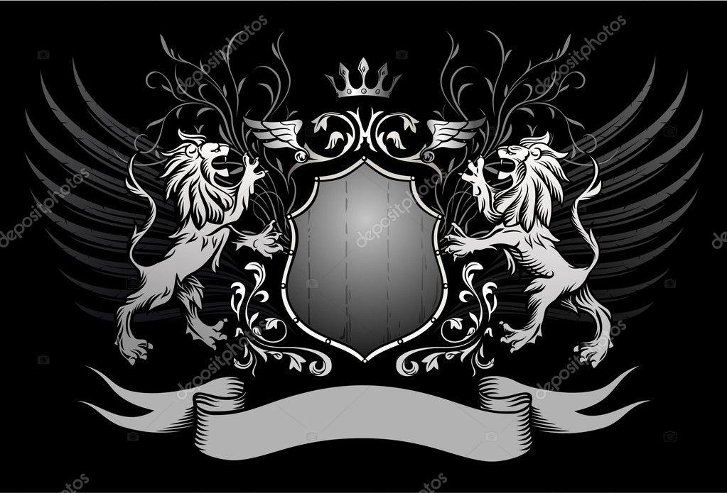 Aslan kalkan ve kanatlı Insignia taç — Stok Vektör © aleksm ...