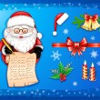 Santa-Claus writing on scroll with Christmas icons-set — Stock Vector