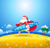 Walking Santa with surfboard — Vector de stock