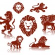 Lions illustration set — Vettoriali Stock