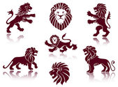 Lions Silhouettes set — Stock Vector