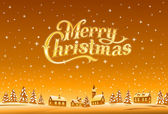 Merry Christmas golden lettering, vector illustration — ストックベクタ