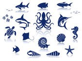 Marine life icon set — Stock Vector